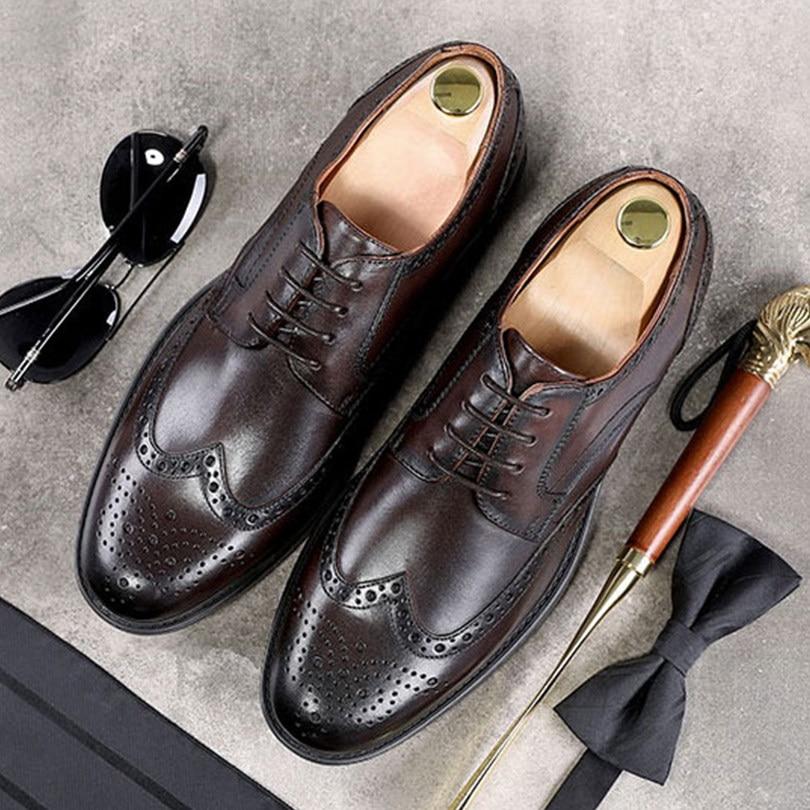 Men's Shoes Mens Brand Leather Formal Shoes Lace Up Dress Shoes Oxfords Fashion Retro Shoes Elegant Work Footwear Zapatos De Hombre De Vest Shoes