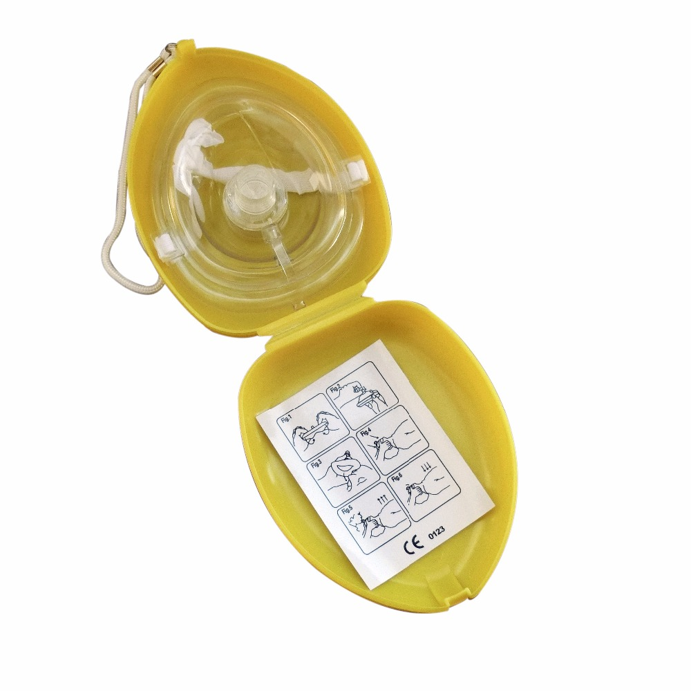 60Pcs/Pack Professional CPR Resuscitator Rescue First Aid Mask Mouth Breath With One-way Valve Emergency Training Tools Yellow 100pcs lot disposable keychain cpr mask with a pair latex gloves one way valve first aid mouth breath resuscitator face shield