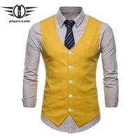 Men Wedding Slim Suit Vests Navy Burgundy White Yellow Green Orange Men Fashion Linen Causal Vests Summer Waistcoat Men Q573