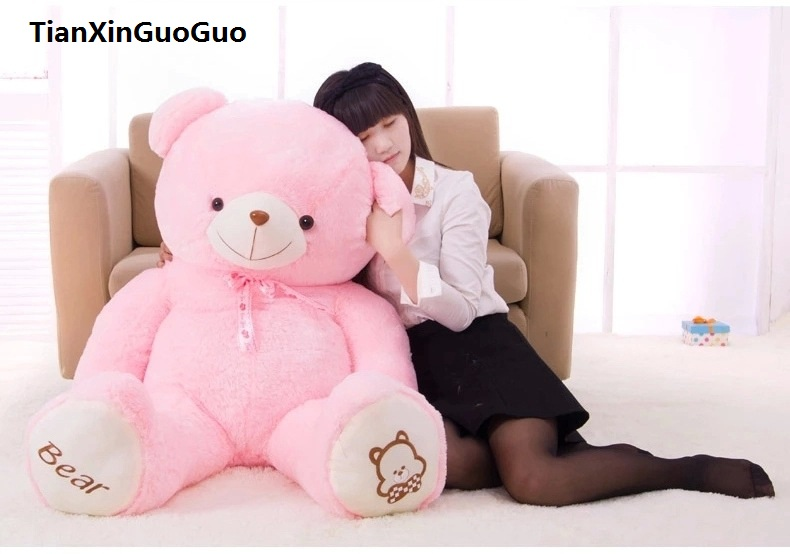 new arrival cute teddy bear plush toy large 140cm pink bear doll hugging pillow,Christmas gift h0633 new cute plush brown teddy bear toy pink heart and bow bear doll gift about 70cm
