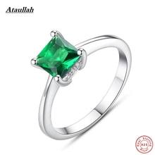 Ataullah Naturliga Smaragd 925 Sterling Silver Ringar För Kvadrat Kvadratkvalitet Silver Kvinnor Party Rings Storlek 6,7,8,9 RWD860
