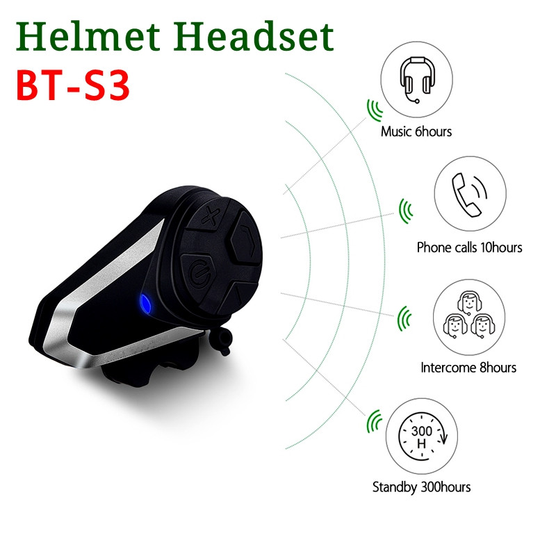 BT-S3 moto rcycle casque interphone 1000 M casque sans fil bluetooth casque étanche BT interphone intercomunicador moto FM