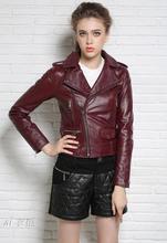 Autumn black red street fashion motorcycle genuine leather jacket womens sheepskin coats short oblique  zipper slim england 2XL