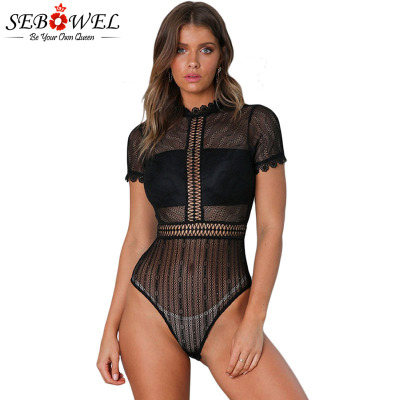 SEBOWEL Summer Black Short Sleeve Lace Bodysuits Woman Turtleneck Patchwork Hollow Out Female Lady White Sheer Body Top Clothes