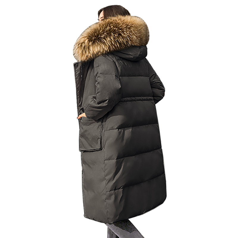 2018 New winter Women's Outwear Female clothing Long Down jacket coat large size Hooded Thicken warm 90% White Duck Down Coat
