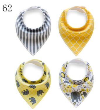 2017 NEW !! Yellow and gray color / Elephant print / Bandana Bibs princess girl / 4pcs/s ...