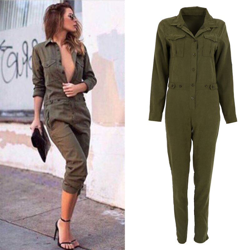 <font><b>Women</b></font> <font><b>Jumpsuit</b></font> <font><b>Sexy</b></font> Bodycon Party Lapel Long-sleeved Playsuit Trousers Stylish Army <font><b>Green</b></font> Rompers image