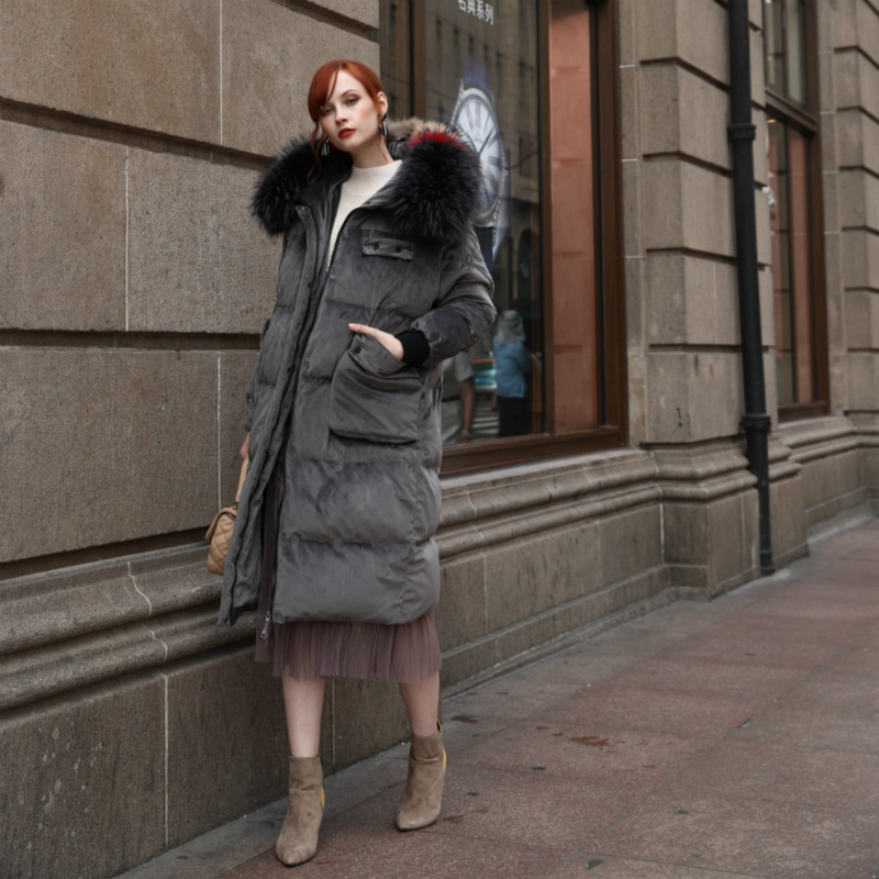 Fashion European Women   Down     Coats   Oversized Thicken Long Parka Duck Jackets Winter Real Fur Hooded Female Outerwear Warm Clothes
