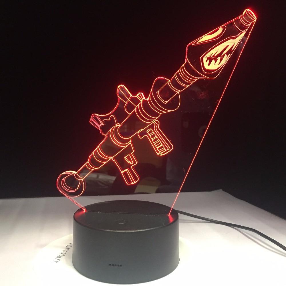 CICATRICE M4A1 Pistola 3D Lampada Arylic Cristallo RGB Variabile Lampada di Umore del LED 7 Colori di Base Luce di Notte per la Festa Di Compleanno regalo Nave di Goccia