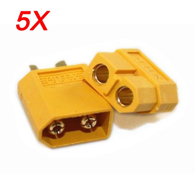 цена на High Quality 5 Pair Of XT60 XT-60 Male Female Bullet Connectors Plugs For RC Lipo Battery Quadcopter Multicopter Free Shipping
