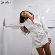Nibber الخريف مكتب السيدات أنيقة الأبيض فساتين إمرأة 2019hot واحدة الصدر تصميم كامل كم عارضة ضئيلة البسيطة اللباس موهير