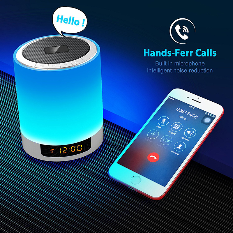 Светодиодный Будильник с беспроводным Bluetooth динамиком MP3 плеером поддержка TF AUX сенсорный датчик светодиодный прикроватный светильник с регулируемой яркостью Теплый светильник