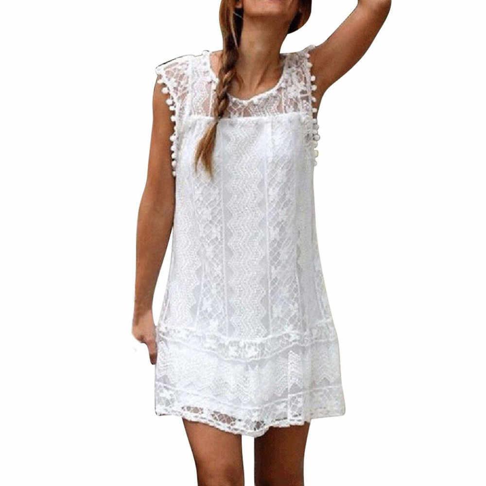 2019 Mulheres da praia do verão Vestido de Renda Informal Praia Sem Mangas O-pescoço Curto Vestido de Borla Senhoras Mini Vestidos Casuais Sólidos 7.5