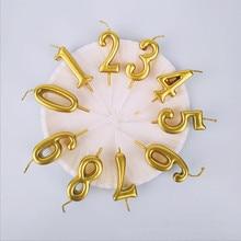 Золотое серебряное число свечи для торта, блестящие и сверкающие вечерние торт фигурки жениха и невесты; лампы в форме свечи детский день рождения Annivesary вечерние украшения