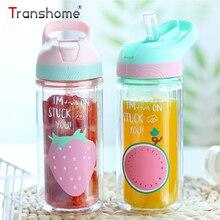 ФОТО transhome plastic water bottle with straw 360ml leak-proof double wall cute bottle for water sport bottles for kids