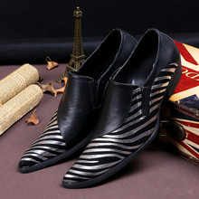 New arrival british genuine leather mens pointed toe dress shoes gold sliver striped slip on oxford elegant gents party