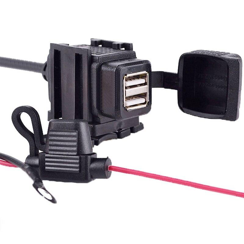 Водонепроницаемый адаптер для зарядки на руль мотоцикла, с двумя USB-портами, 12 В, разъем питания для телефона, GPS, MP4, DC 5 в 2,1 А