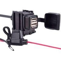 Cargador para manillar de motocicleta impermeable, adaptador de toma de corriente para teléfono, GPS, MP4, DC 5V 2.1A, puerto USB Dual de 12V