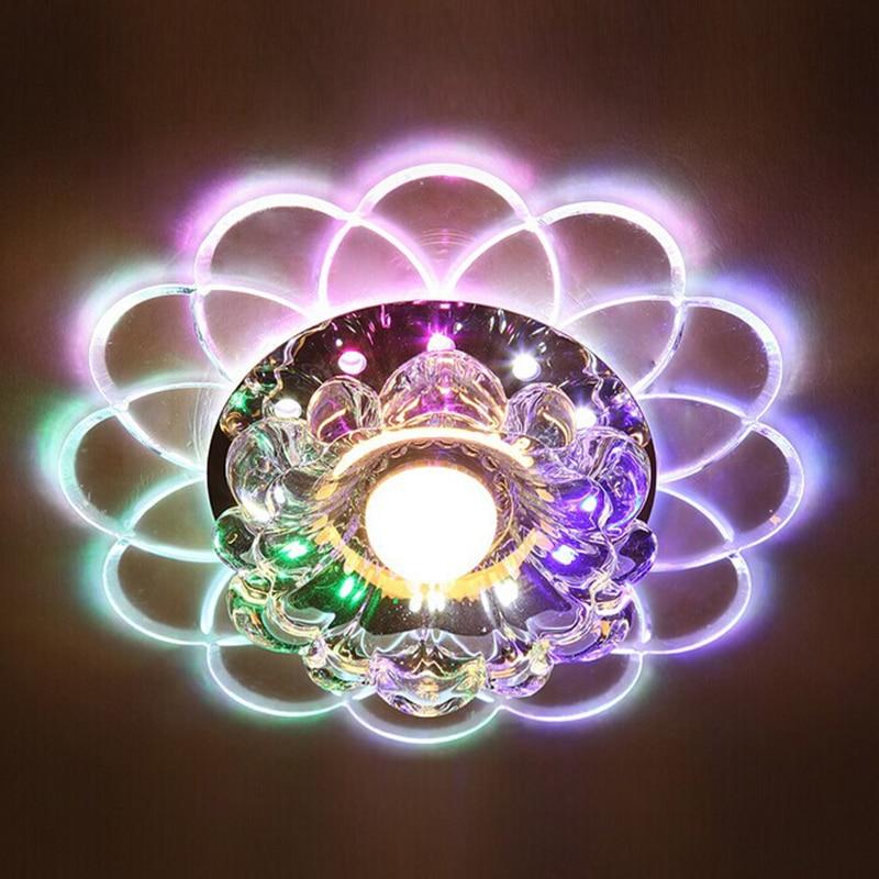 Nuevo estilo colorido K9 Luces de techo de cristal 5W Led Ronda - Iluminación interior