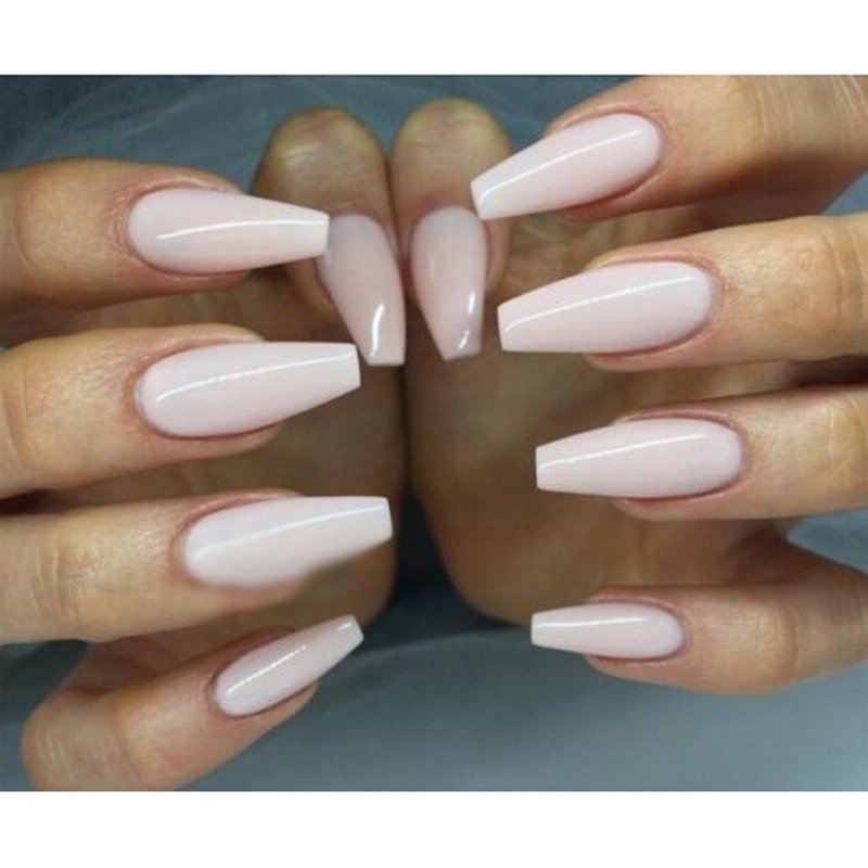 600pcs Trendy Long Ballerina Nails 3 Colors Coffin Shape Artificial ...