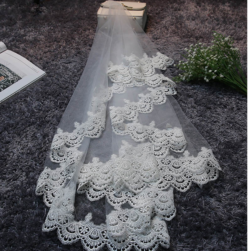 JIERUIZE In Stock Lace Edge 1.5 M Long Wedding Veils High Quality Cheap Bridal Veils Wedding Accessories 1