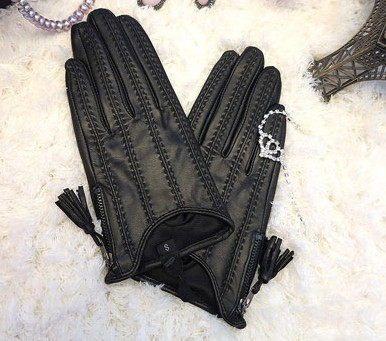 2020 Half Palm Glove Zipper Tassel Driving Fashion New Goat Leather Gloves  Women Fashion Short Mittens Real Leather LG015