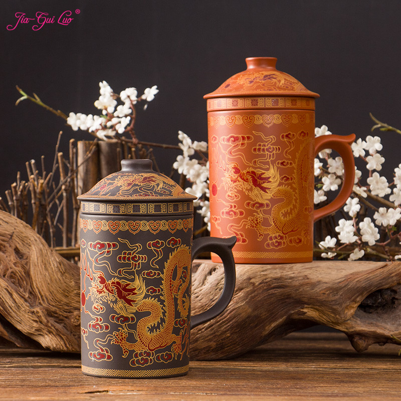 JIA-GUI LUO 400ML Ceramic dragon pattern Tea Mugs purple clay puh ceramic cup office cup gift travel kung fu for tea