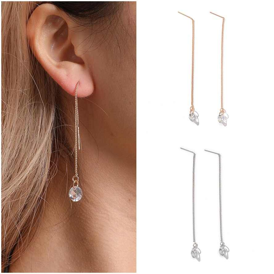 2018 Korean Sweety Long Ear Wire Drop Earrings Simple Gold Silver Cute Drop Crystal Dangle Pendientes For Women Fashion Brincos