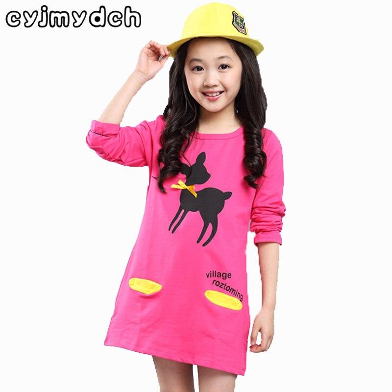 Jaro podzim Bavlněná trička s dlouhým rukávem 100-160cm Dětské oblečení Print jelen pružnost základní košile baby girl oblečení