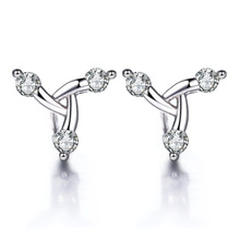 100% 925 sterling silver high quality shiny crystal ladies`stud earrings jewelry wholesale Anti allergy birthday gift