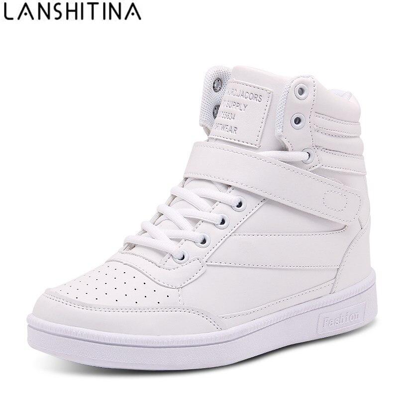 2018 женская повседневная обувь слипоны на платформе Скрытая увеличение Спортивная обувь PU женская кожаная обувь дышащие высокие белые туфли