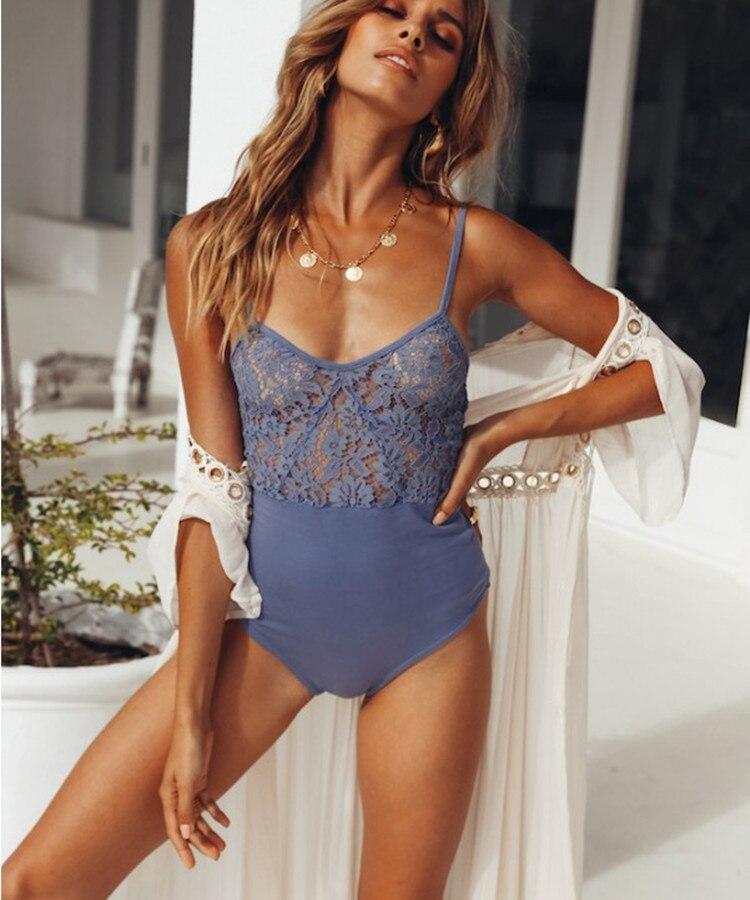 Weania Ladies Sexy Lace Hollow Bodysuit 2018 Summer Spaghetti Strap Solid Slim Bodysuit Women Sleeveless Backless Bodysuit