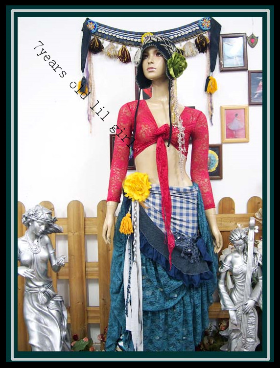 .Lace Belly Dance Top Gypsy Bohemian Top Korea Lace 9 Sleeve Top DM33