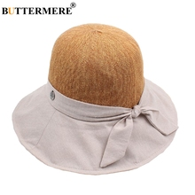BUTTERMERE Patchwork Bucket Hat Women Orange Cotton Fashion Fishing Female Foldable Bowknot Summer Outdoor Ladies