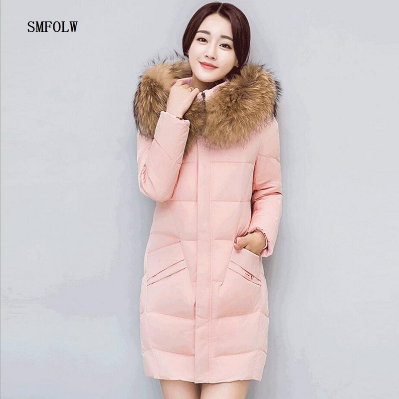 winter jacket women The really big raccoon fur collar Hooded jacket parka female wadded jacket outerwear winter coat women 2017 winter new clothes to overcome the coat of women in the long reed rabbit hair fur fur coat fox raccoon fur collar