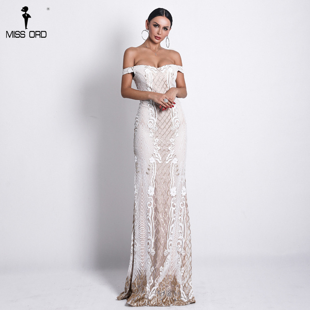 Missord 2019 Sexy One Shoulder Backless Sequin Dresses Female Elegant Retro geometry Party Bodycon Reflective Dress FT18623