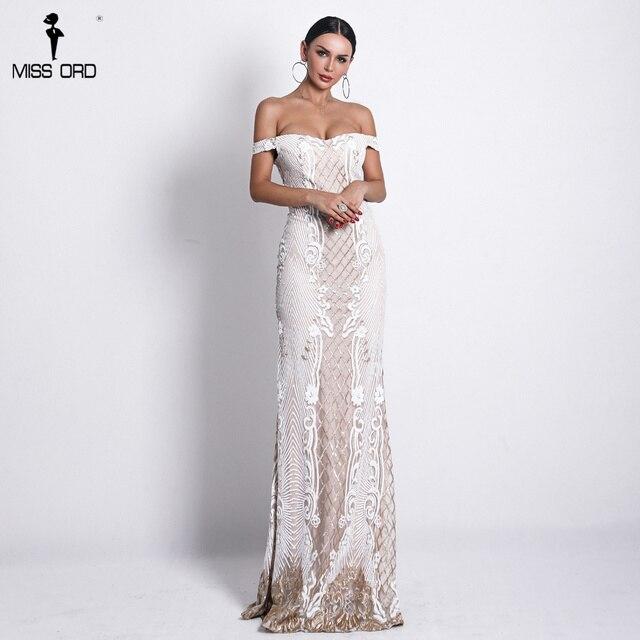 Missord 2019 пикантные на одно плечо с открытой спиной Платья с пайетками Женские Элегантные ретро Геометрия вечерние облегающее блестящее платье FT18623