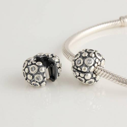 Kt048a-n 100% Authentic plata esterlina 925 Encore con Clear CZ de Clip encanta encajan Pandora pulseras y collares DIY Making