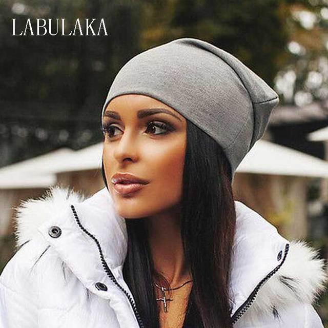 Gorros de invierno para mujeres gorros de algodón mezclado Hip Hop gorras Slouch Warm Hat Festival Unisex turbante Cap Color sólido Bonnet sombreros