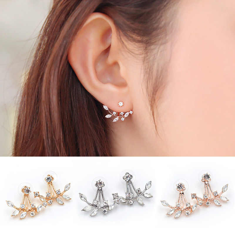 crystal stud earrings pendientes mujer moda leaf ear cuff  rose gold earrings for women Brincos bridal wedding party jewelry