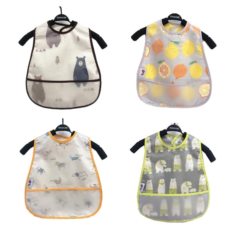 Adjustable Baby Bibs EVA Waterproof Lunch Feeding Bibs Baby Cartoon Feeding Cloth Children Baby Apron Babador Bandana(China)