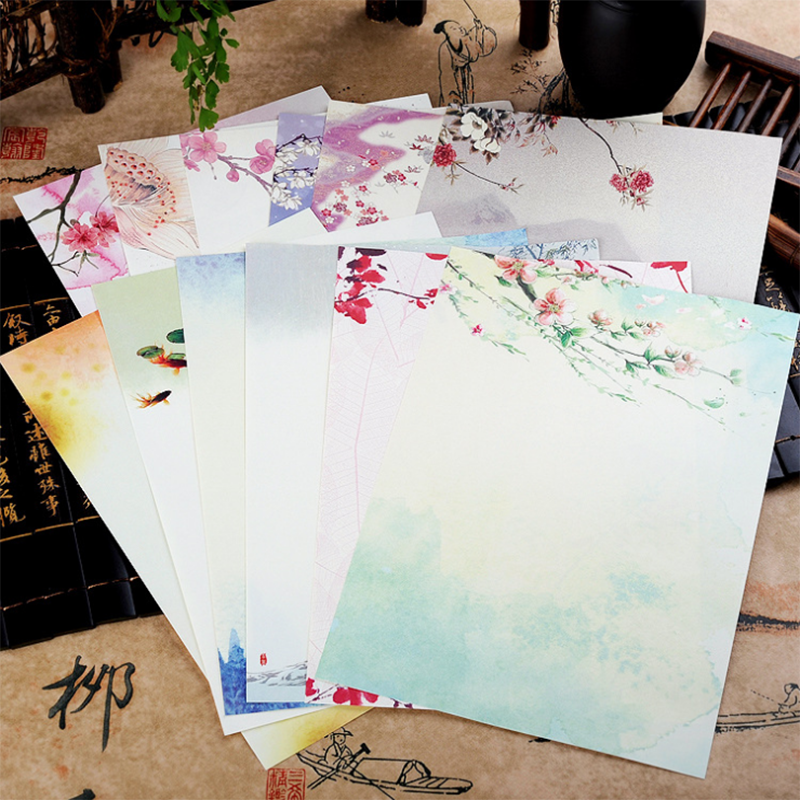 8pcs Chinese Style Envelope Vintage Flowers Decoration Letter Paper Letter  For Student Office School Stationery Writeable Print
