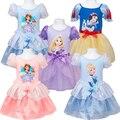 Moda 5 colores 2015 muchachas del verano niños de dibujos animados bebé de princesa Dress Kids niños de encargo Cosplay vestidos DCR36 caliente