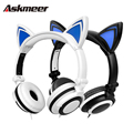 Foldable Cute Cat Ear Headphones Flashing Glowing Gaming Earphone Headset with LED Light for PC Laptop Mobile Phone Music casque