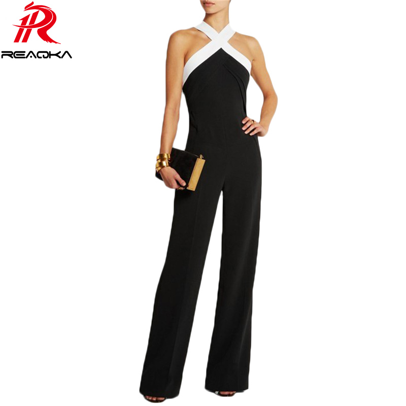 2018 Sexy Women Black White Stitching Summer Jumpsuits Hot Halter Full Length Pants Playsuit Women's Slim Party Rompers Overalls