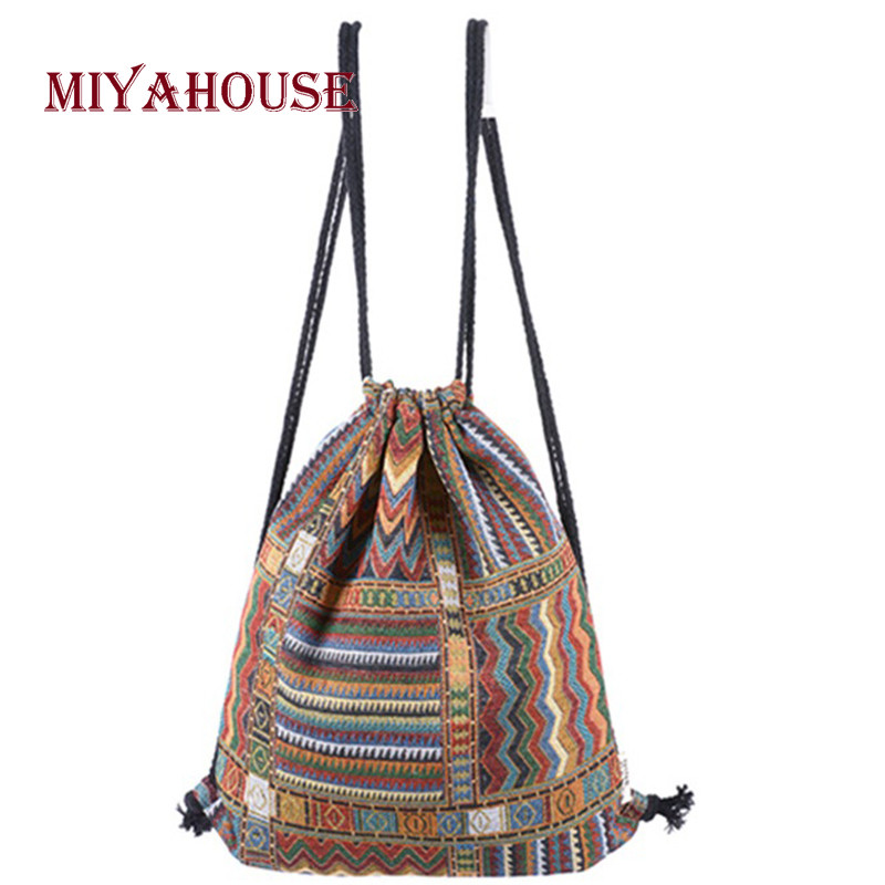 Miyahouse National Style Canvas Material Backpack For Female Vintage Drawstring Design Rucksack Women Canvas Material Backpack backpack for girl 2016 popular design material is jeans zipper is nylon