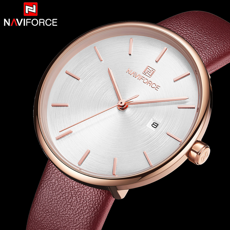 Naviforce Women Watches Fashion Luxury Leather Wrist Quartz Watch Ladies Wristwatches Reloj Mujer Clock Relogio Feminino 2019