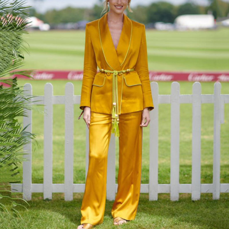 Women s Suits Lace Up Blazers Coats High Waist Wide Leg Pants Two Piece Sets 2019