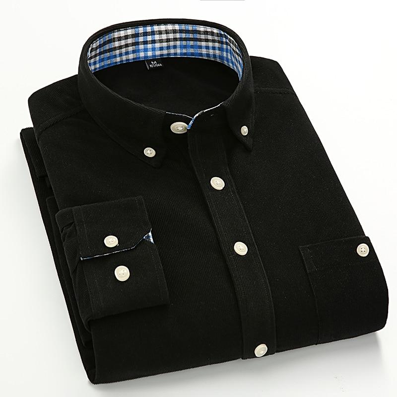 Men Shirt 2018 New Men Corduroy Long Sleeve Shirt Camisas Hombre Fashion Casual Slim Fit Social Formal Business Cotton Shirt
