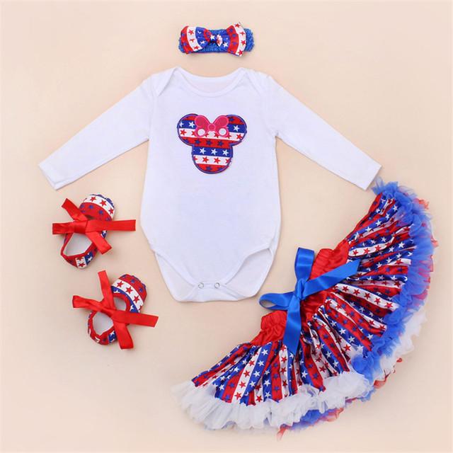 El Nuevo 0-2 años Hembra bebé recién nacido establece Blanco Largo Calidad de algodón de manga Romper Tutu dress American Star Set 4 $ number pcs/set